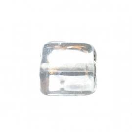 Doorzichtige, platte vierkante glaskraal