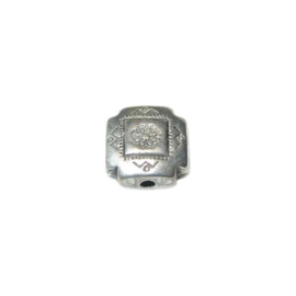 Square, silvercolored bead with metal coating
