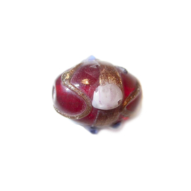 Italian Style red, oblong glass bead