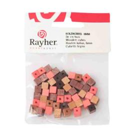 Bruine tinten houten vierkante kraal 6 mm van Rayher