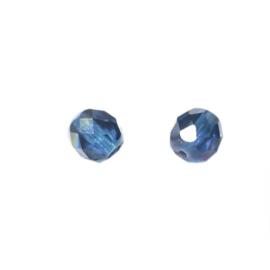 Donkerblauwe glazen facetkraal 8mm