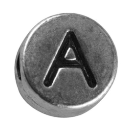 "Silver colored metal letter bead ""A"" from Rayher"