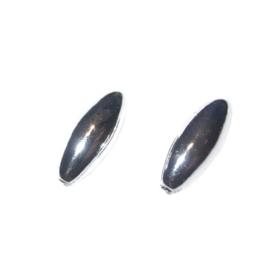 Zilverkleurige polyester olijf kraal, 6x14 mm