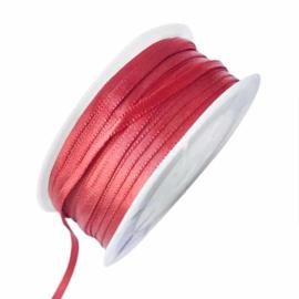 Satijn lint rood 4 mm