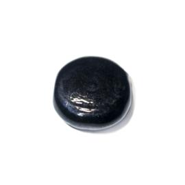 Zwarte, platte, ronde glaskraal