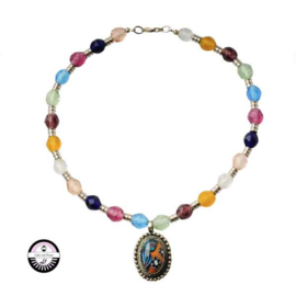 Necklace made with Metalcolored, decorated pendant  and colored glass beads