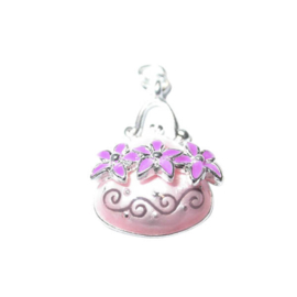 Bag Charm made of metal with light and dark pink
