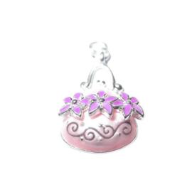 Tas Bedel van metaal met licht en donker roze versiering