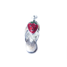 Flip flop with fruit (Strawberry) charm, made of metal