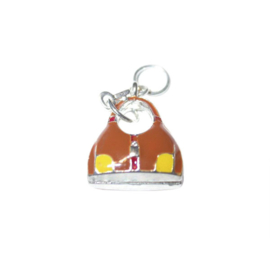 Bag Charm made of metal with brown and yellow