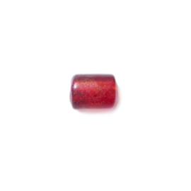 Rode buisvormige glaskraal met olieglans