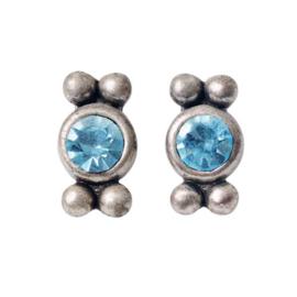 Silvercolored earrings with blue rhinestone