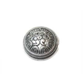 Round metal coloured bead with decoration