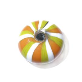 Grote gele, met oranje en witte glaskraal
