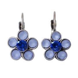 Flower-shaped Earrings with blue rhinestones
