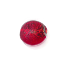Red, round flat glassbead with silvercoloured inside