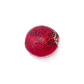 Rode, ronde, platte glaskraal met zilverkleurige binnenkant