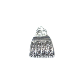 Metaalkleurige tas bedel, gemaakt van metaal met versiering