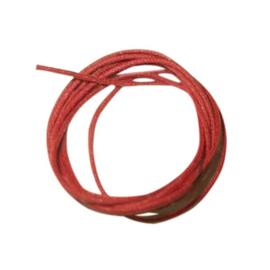Rood gewaxt katoen 1 mm