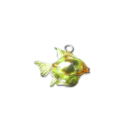 Vis bedel gemaakt van metaal met geel