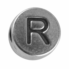 "Silver colored metal letter bead ""R"" from Rayher"