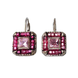 Square-shaped Earrings with pink beads