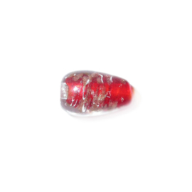 Transparent coneform glass bead, with red and goldcoloured inside