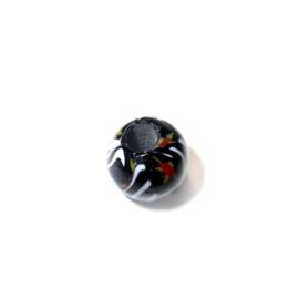 Ronde, zwarte glaskraal