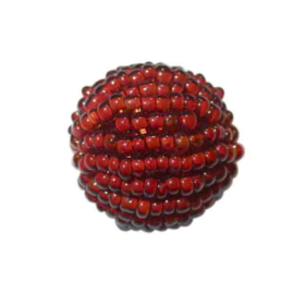 Big red luster Rocaille ball  made of glass beads