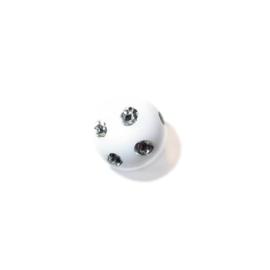 Witte ronde kunststof kraal met metaalkleurige inkepingen