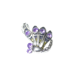 Butterfly Charm made of metal with purple rhinestones