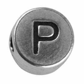 "Silver colored metal letter bead ""P"" from Rayher"