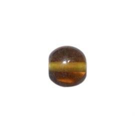 Bruine, doorzichtige platte glaskraal