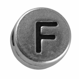 "Silver colored metal letter bead ""F"" from Rayher"