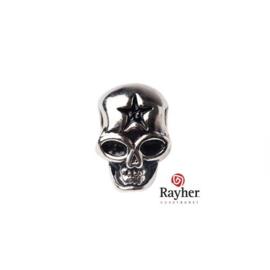 Zilverkleurig metalen ornament Doodskop/Schedel