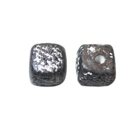 Zwart witte vierkante kraal van keramiek