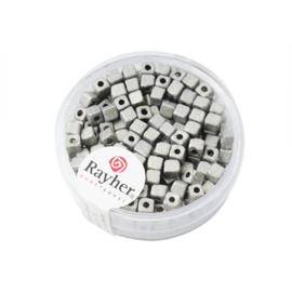 Zilverkleurige metallic vierkante rocailles 3,4 x 3,4 mm van Rayher