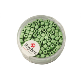 Groene metallic vierkante rocailles 3,4 x 3,4mm van Rayher