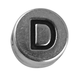 "Silver colored metal letter bead ""D"" from Rayher"