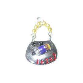 Schoolbag charm with numbers, made of metal