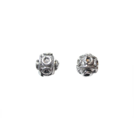 Silver colored metal Bali bead