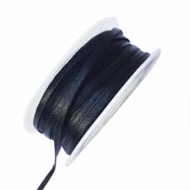 Satijn lint zwart 4 mm