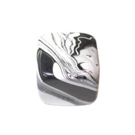 Zwart-witte vierkante houten kraal
