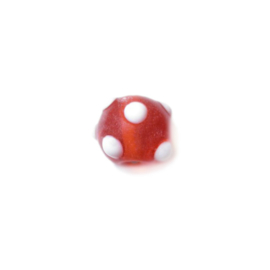 Red Glassbead with white dots