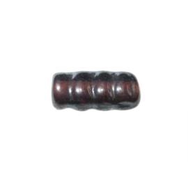 Donkerbruine cilindervormige, geribbelde glaskraal met glans