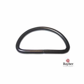 Zwarte tas ring halfrond voor riem van 2,5 cm