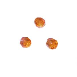 Oranje glazen facetkraal 6 mm