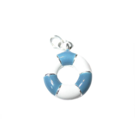 Float charm made of metal with white and blue