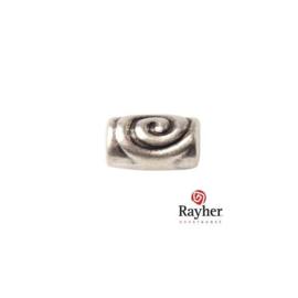 Zilverkleurige metalen cilinder kraal