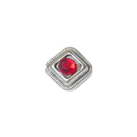 Metalen kraal met een rood plaksteentje
